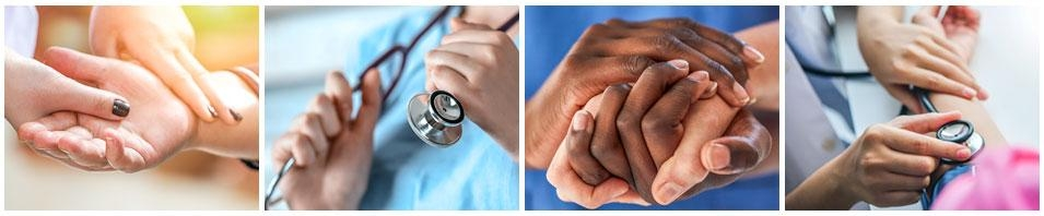 four photos of nurse's hands holding patients hands.